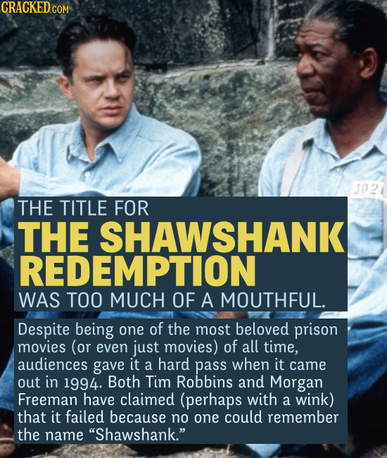 THE TITLE FOR THE SHAWSHANK REDEMPTION WAS TOO MUCH OF A MOUTHFUL. Despite being one of the most beloved prison movies (or even just movies) of al