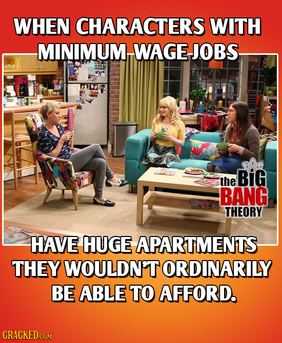 WHEN CHARACTERS WITH MINIMUM WAGE-JOBS BiG the BANG THEORY HAVE HUGE APARTMENTS- THEY WOULDN'T ORDINARILY BE ABLE TO AFFORD. CRACKED COM