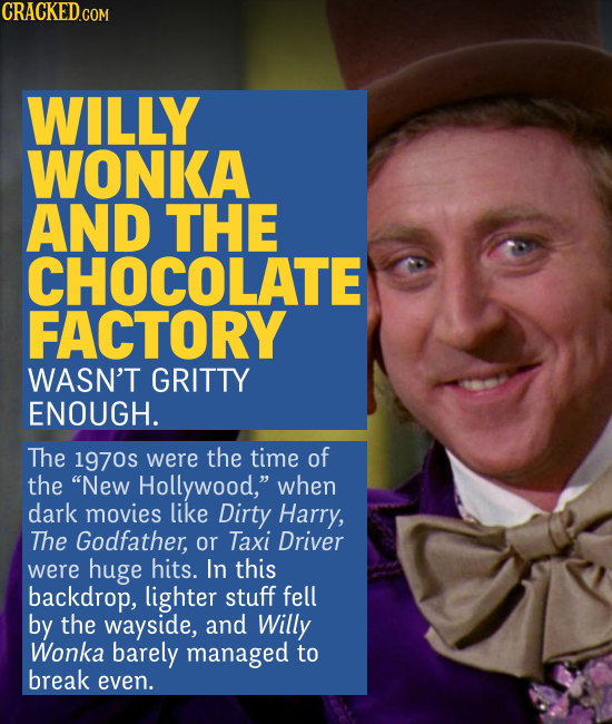 WILLY WONKA AND THE CHOCOLATE FACTORY WASN'T GRITTY ENOUGH. The 1970s were the time of the New Hollywood, when dark movies like Dirty Harry, The God