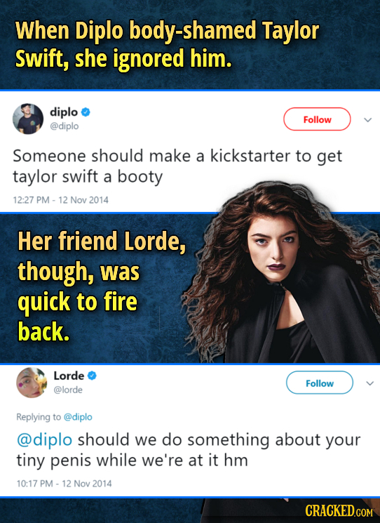 When Diplo -shamed Taylor swift, she ignored him. diplo Follow @diplo Someone should make a kickstarter to get taylor swift a booty 12:27 PM - 12 Nov