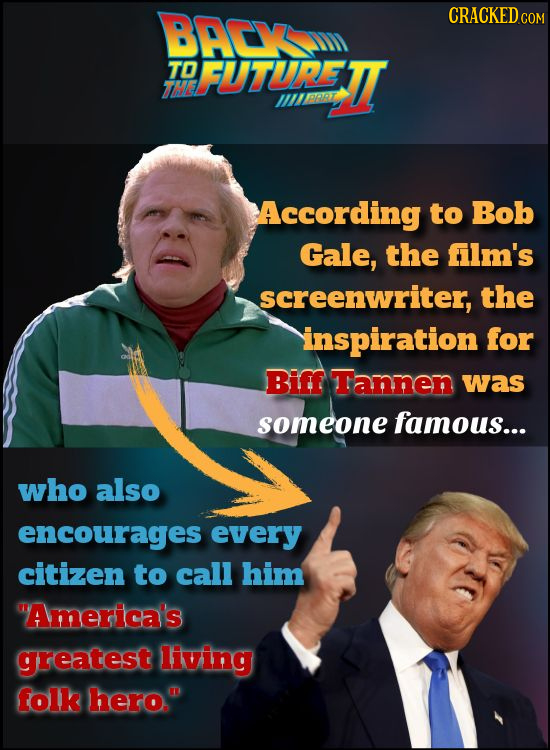 BACV CRACKED c TO FUTURETT The IRRRZ PT According to Bob Gale, the film's screenwriter, the inspiration for Biff Tannen was someone famous... who also