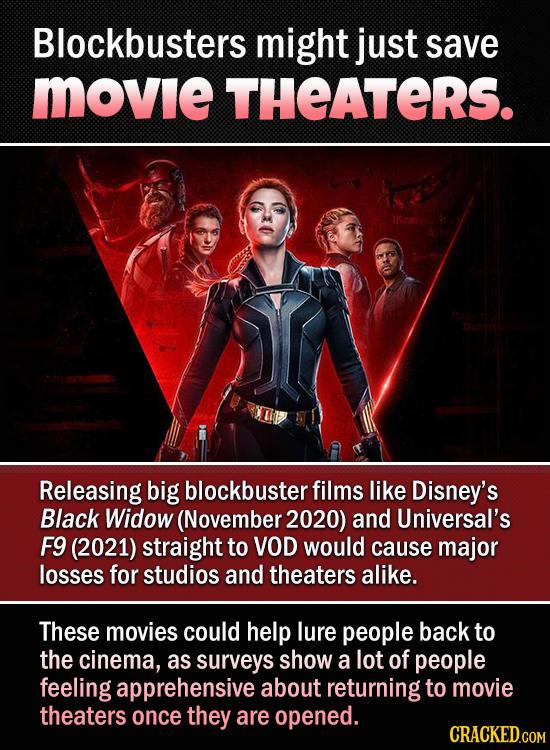 Blockbusters might just save Movie THEATERS. Releasing big blockbuster films like Disney's Black Widow (November 2020) and Universal's F9 (2021) strai