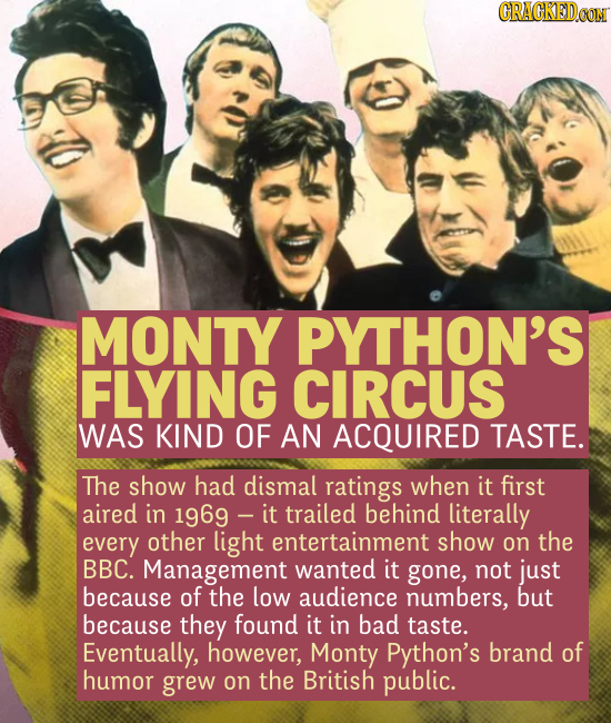 MONTY PYTHON'S FLYING CIRCUS WAS KIND OF AN ACQUIRED TASTE. The show had dismal ratings when it first aired in 1969 - trailed behind litera