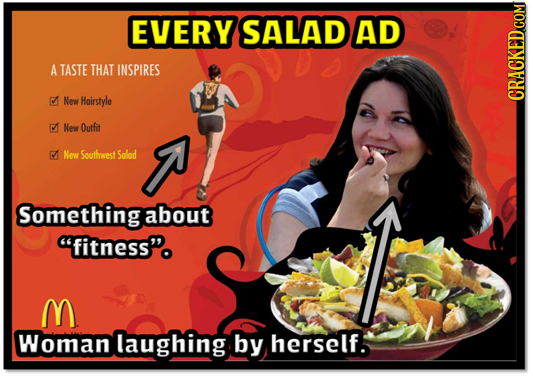 EVERY SALAD AD A TASTE THAT INSPIRES New Hoirstyle CRACKED COM New Outfit New Southwest Solod Somethingabout fitness. M Woman laughing by herself