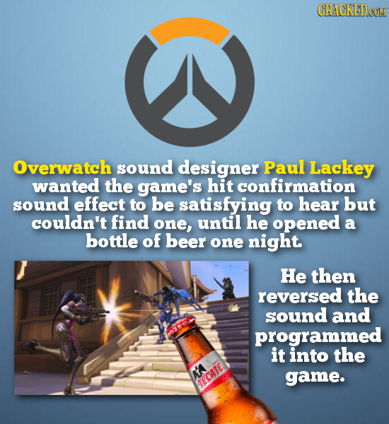 CRACKEDCON Overwatch sound designer Paul Lackey wanted the game's hit confirmation sound effect to be satisfying to hear but couldn't find one, until