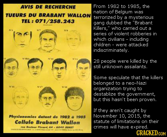 AVIS DE RECHERCHE From 1982 to 1985, the nation of Belgium was TUEURS DU BRABANT WALLON terrorized by a mysterious TEL: 071/258.243 gang dubbed the B