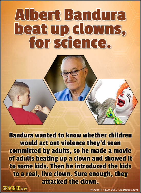 Albert Bandura beat up clowns, for science. Bandura wanted to know whether children would act out violence they'd seen committed by adults, so he made
