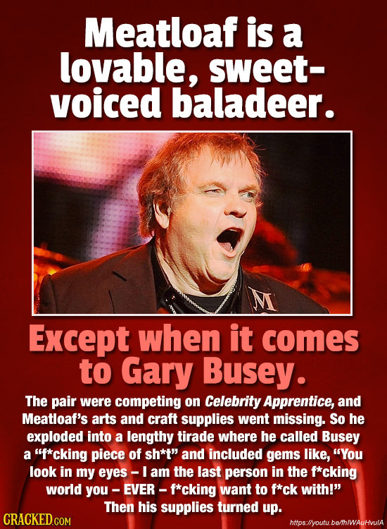 Meatloaf is a lovable, sweet- voiced baladeer. Except when it comes to Gary Busey. The pair were competing on Celebrity Apprentice, and Meatloaf's art