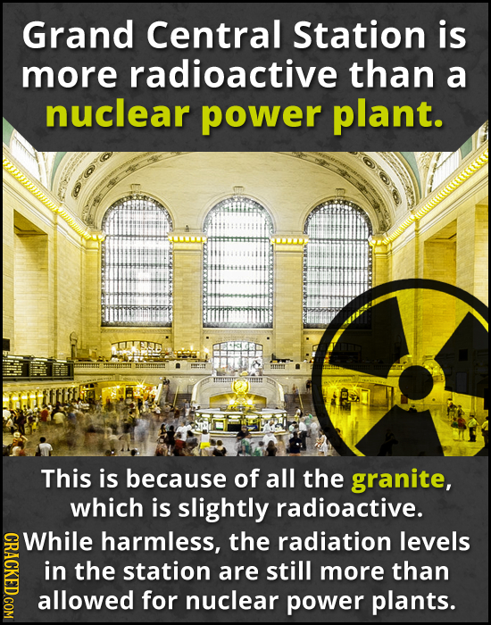 Grand Central Station is more radioactive than a nuclear power plant. This is because of all the granite, which is slightly radioactive. While GRACY h