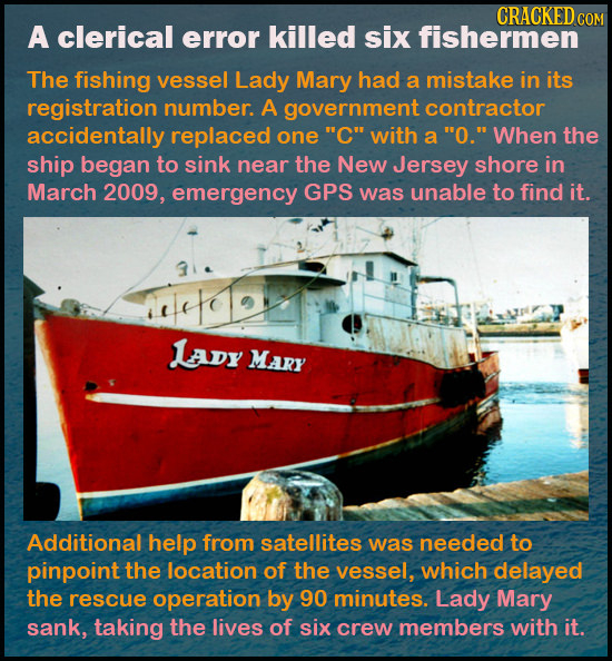 CRACKED COM A clerical error killed six fishermen The fishing vessel Lady Mary had a mistake in its registration number. A government contractor accid
