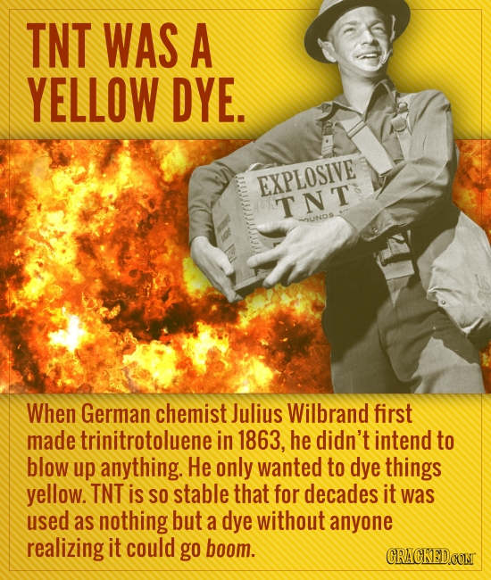 TNT WAS A YELLOW DYE. EXPLOSIVE TNT nUND When German chemist Julius Wilbrand first made trinitrotoluene in 1863, he didn't intend to blow up anything.