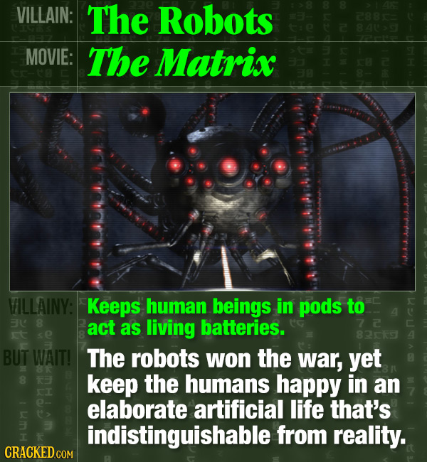 VILLAIN: The Robots 288 a MOVIE: The Matrix VILLAINY: Keeps human beings in pods to 3 8 act as living batteries. t se 829 BUT WAIT! The robots won the