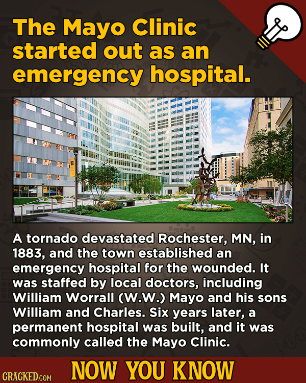 13 Scintillating Now-You-Know Movie Facts and General Trivia - The Mayo Clinic started out as an emergency hospital.