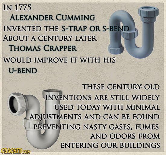 IN 1775 ALEXANDER CUMMING INVENTED THE S-TRAP OR S-BEND ABOUT A CENTURY LATER THOMAS CRAPPER WOULD IMPROVE IT WITH HIS U-BEND THESE CENTURY-OLD INVENT