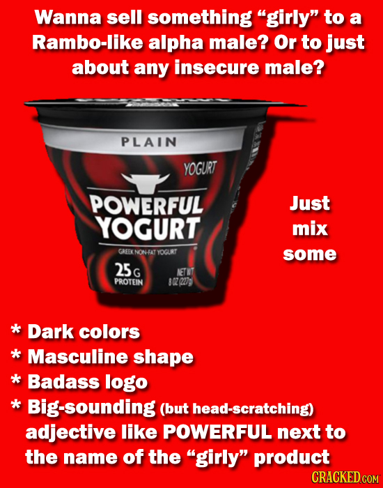 Wanna sell something girly to a Rambo-like alpha male? Or to just about any insecure male? PLAIN YOGURT POWERFUL Just YOGURT mix GREEK NON-FAT YOGRT