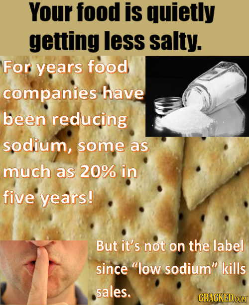 Your food is quietly getting less salty. For years food companies have been reducing sodium, some as much as 20% in five years! But it's not on the la