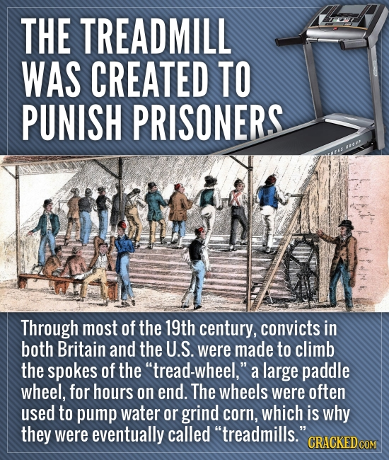 THE TREADMILL WAS CREATED TO PUNISH PRISONERS Through most of the 19th century, convicts in both Britain and the U.S. were made to climb the spokes of