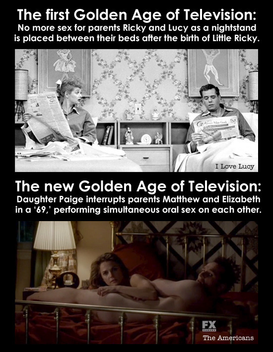 The first Golden Age of Television: No more sex for parents Ricky and Lucy as a nightstand is placed between their beds after the birth of Little Rick
