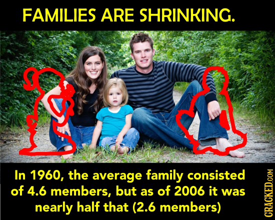 FAMILIES ARE SHRINKING. In 1960, the average family consisted of 4.6 members, but as of 2006 it was nearly half that (2.6 members) RAGh