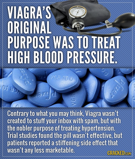 VIAGRA'S ORIGINAL PURPOSE WAS TO TREAT HIGH BLOOD PRESSURE. ISRIOO a OT7 szJd soud V Contrary to what you may think, Viagra wasn't created to stuff yo