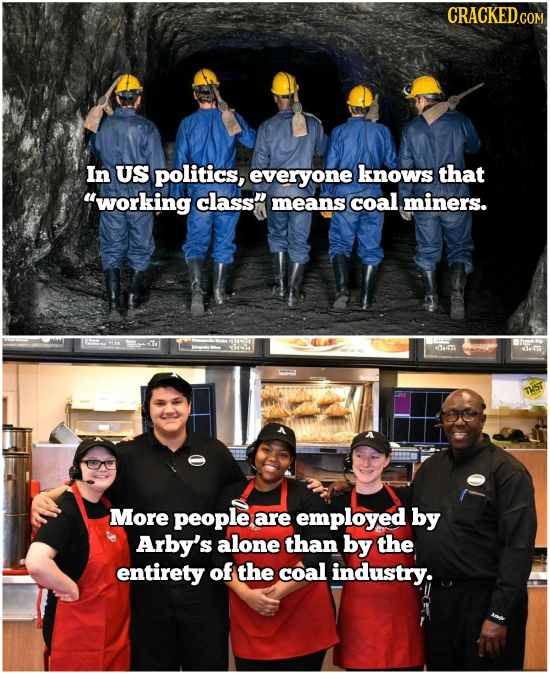 In US politics, everyone knows that working class means coal miners. Te fa ST TST More people are employed by Arby's alone than by the entirety of t