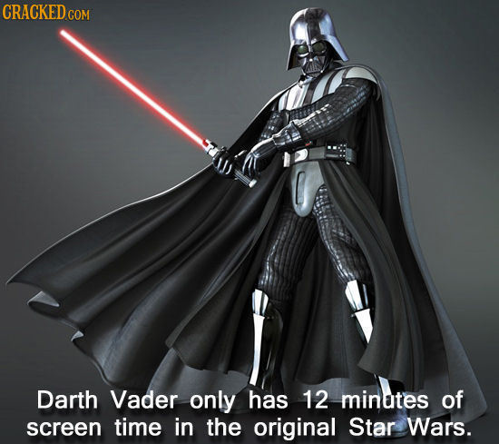 CRACKEDcO COM Darth Vader only has 12 minates of screen time in the original Star Wars.