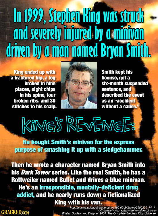 In 1999, Stephen KiNg was struck and severely injured by a minivan driven by a man named Bryan Smith. King ended up with Smith kept his a fractured hi