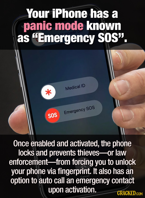 Your iPhone has a panic mode known as Emergency SOS'. ID Medical SOS Emergency SOS Once enabled and activated, the phone locks and prevents thieves