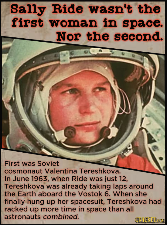 21 People Who Get Unfairly Left Out Of The History Books - Sally Ride wasn't the first woman in space. She wasn't even the second. The first woman in