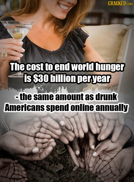 CRACKEDCO The cost to end world hunger is $30 billion per year -the same amount as drunk Americans spend online annually