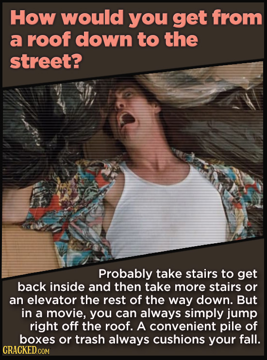 How would you get from a roof down to the street? Probably take stairs to get back inside and then take more stairs or an elevator the rest of the way