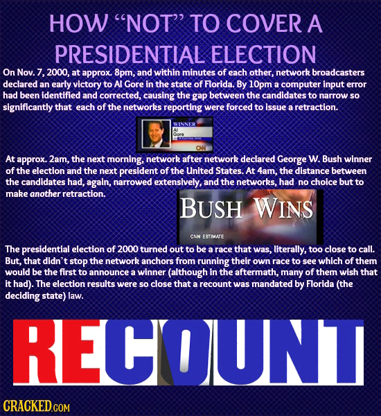 HOW NOT TO COVER A PRESIDENTIAL ELECTION On Nov. 7. 2000, at approx. 8pm, and within minutes of each other, network broadcasters declared an early v