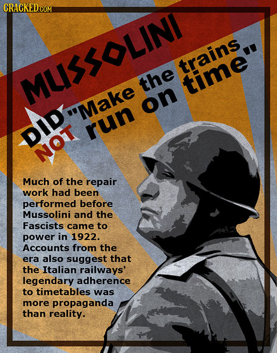 CRACKED trains MUSSOLIN the time on Make run DID NOT Much of the repair work had been performed before Mussolini and the Fascists came to power in 19