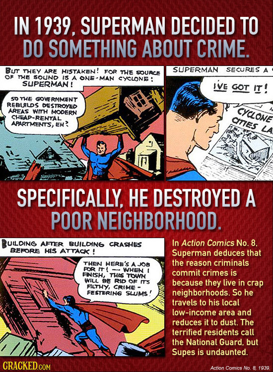 IN 1939. SUPERMAN DECIDED TO DO SOMETHING ABOUT CRIME. Bu THEY MISTAKEN! SUPERMAN SECURES ARE FOR THEE A SOURC OF THE SOUND IS A ONE-MAN CYSLONE: SUPE