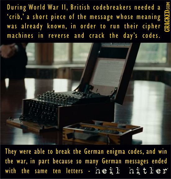 During World War II, British codebreakers needed A 'crib,' a short piece of the message whose meaning was already known, in order to run their cipher