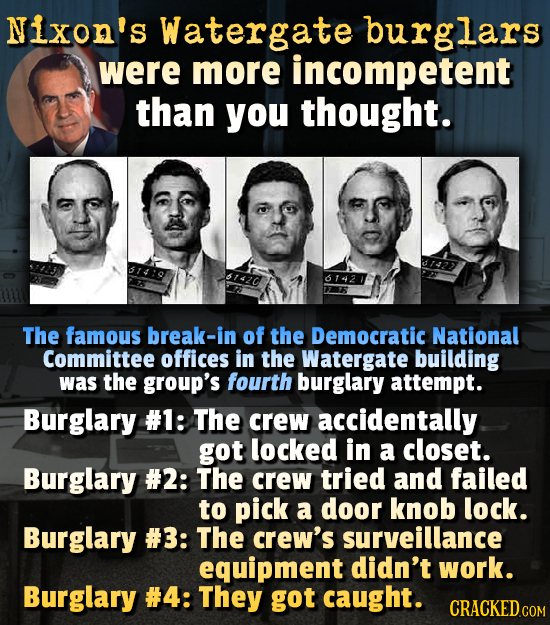 Nixon's Watergate burglars were more incompetent than you thought. The famous break-in of the Democratic National Committee offices in the Watergate b