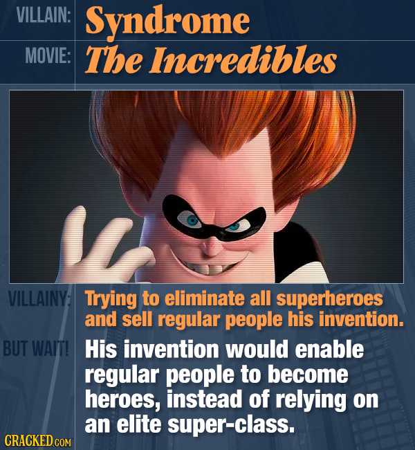 VILLAIN: Syndrome MOVIE: The Incredibles VILLAINY: Trying to eliminate all superheroes and sell regular people his invention. BUT WAIT! His invention