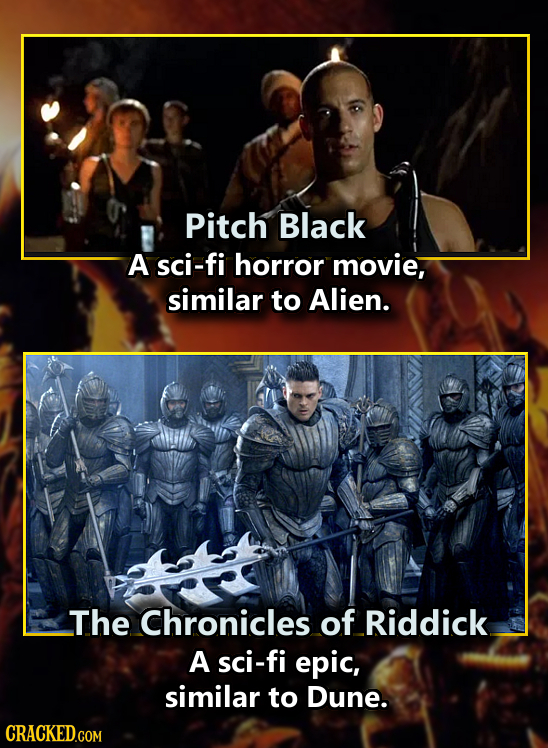 Pitch Black A sci-fi horror movie, similar to Alien. The Chronicles of Riddick A sci-fi epic, similar to Dune. CRACKED.COM