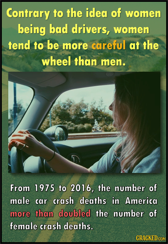 Contrary to the idea of women being bad drivers, women tend to be more careful at the wheel than men. From 1975 to 2016, the number of male car crash