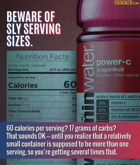 BEWARE OF SLY SERVING SIZES. Nutrition Facts power-C 2.5 Serving Per Container Serving Size oz (360 mL) dragonfruit flavored + other natural Amount Pe