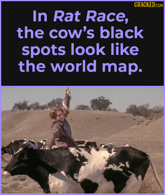 CRACKEDCO In Rat Race, the cow's black spots look like the world map.