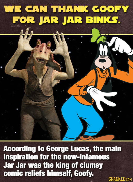 WE CAN THANK COOFY FOR JAR JAR BINKS. According to George Lucas, the main inspiration for the now-infamous Jar Jar was the king of clumsy comic relief