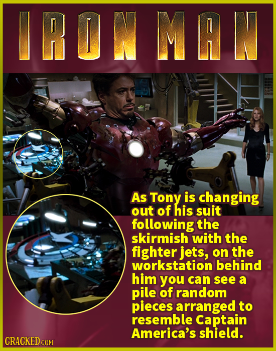 IRONMAN As Tony is changing out of his suit following the skirmish with the fighter jets, on the workstation behind him you can see a pile of random p