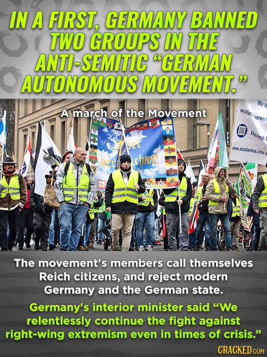 IN A FIRST, GERMANY BANNED TWO GROUPS IN THE ANTI-SEMITIC GERMAN AUTONOMOUS MOVEMENT. A march of the Movement wolle seren Heimzt NWW wstaatelos .inf