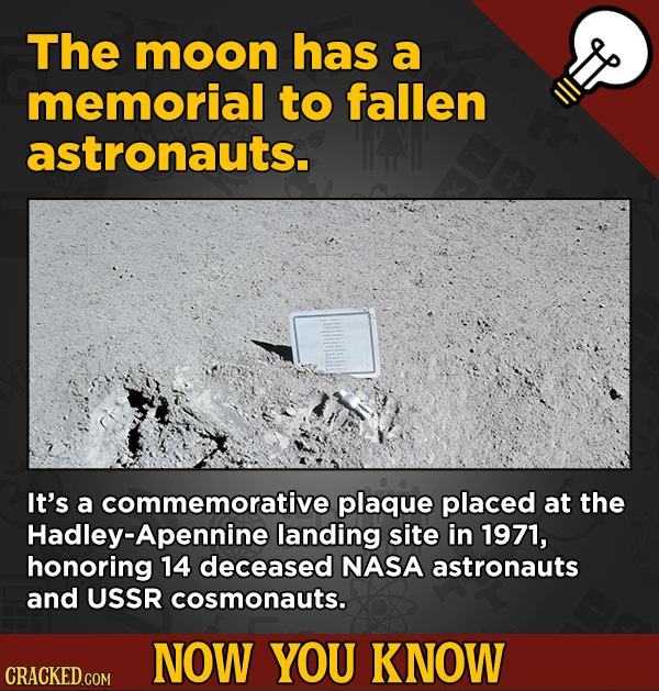 Now You Know! 13 Facts About Movies And General Trivia To Un-Bore You - The moon has a memorial to fallen astronauts.