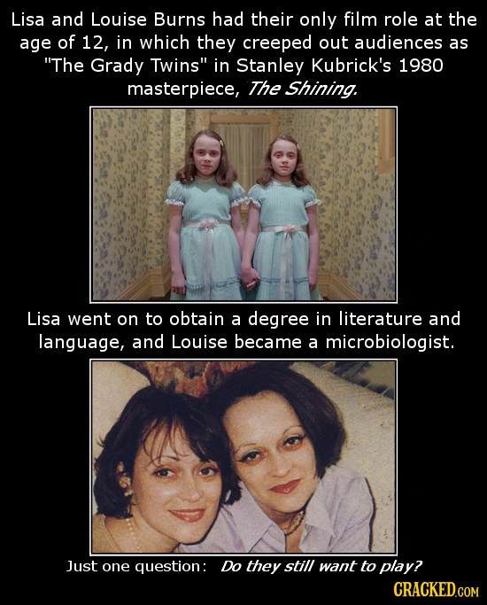 Lisa and Louise Burns had their only film role at the age of 12, in which they creeped out audiences as The Grady Twins in Stanley Kubrick's 1980 ma