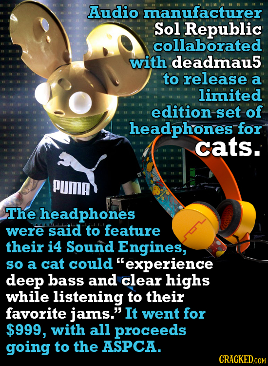 Audio manufacturer Sol Republic collaborated with deadmau5 to release a limited edition set of headphones for cats. PUma The headphones were Said to f