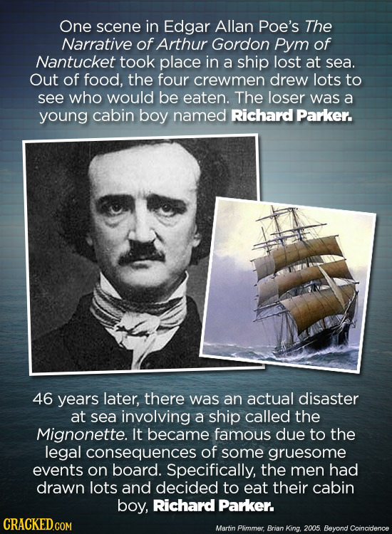 One scene in Edgar Allan Poe's The Narrative of Arthur Gordon Pym of Nantucket took place in a ship lost at sea. Out of food, the four crewmen drew lo