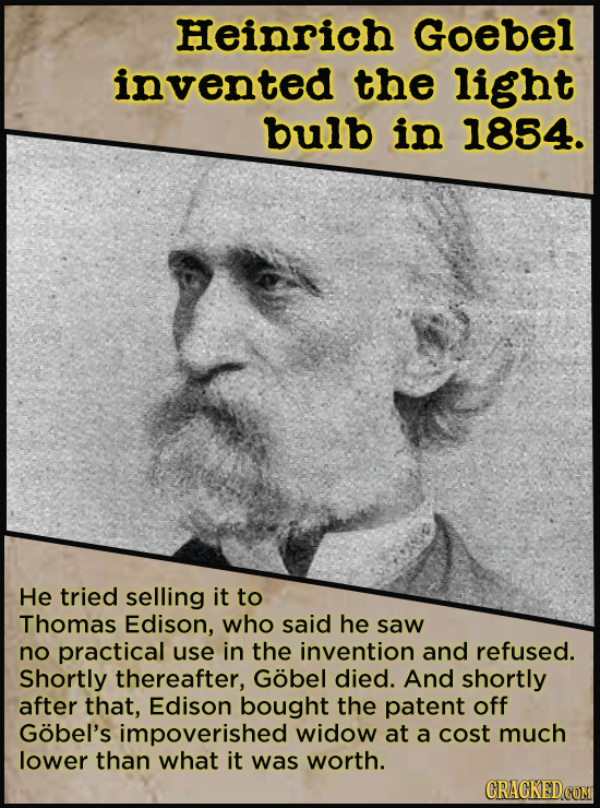 21 People Who Get Unfairly Left Out Of The History Books - Plenty of people messed around with the idea of the light bulb, (Jean Foucault, Humphrey Da