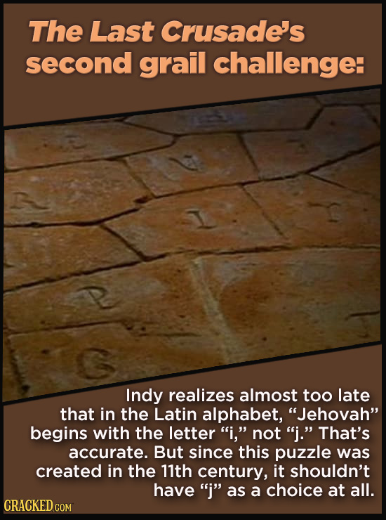 """21 Details That Movies And TV Shows Got Exactly Wrong - Indy realizes almost too late  that in the Latin alphabet, """"Jehovah"""" begins with the letter """"i"""